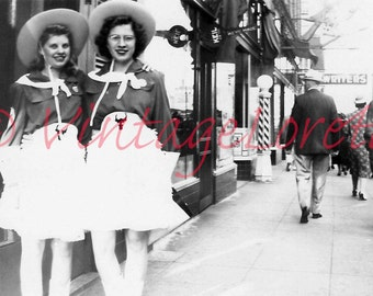 Instant Digital Download of Two Cowgirls July, 1941 Dressed up for the 4th of July Parade