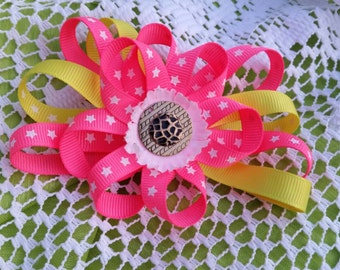 Girls Hair barrette - Fun Pinky Lemon Run