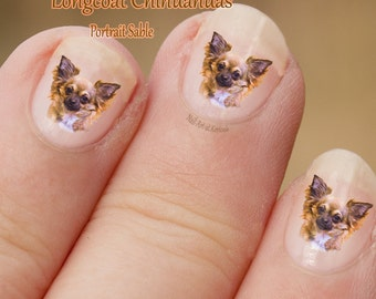 Sable Chihuahua Nail Art, Dog Nail Art Stickers, portrait, Chi Decals, toy breed, brown and white, fun to use, great gift
