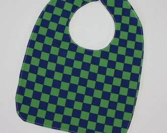 SALE | Baby Boy's bib | Blue and Green Check | Newborn Gift | Ready to Ship | Baby Gift | Made in Australia