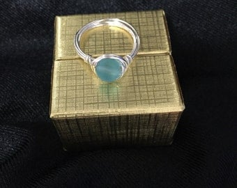 Blue Sea Glass Wire Wrapped Ring
