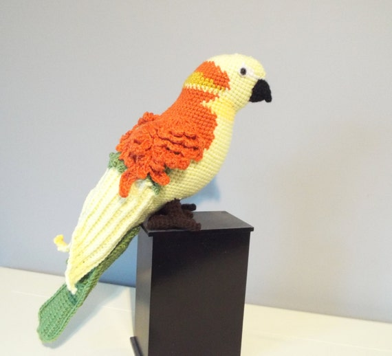 Crochet parrot sun conure stuffed animals by CrochetToysCorner