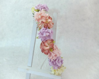 Colorful flower headpiece - pastel flower crown - wedding hair accessories