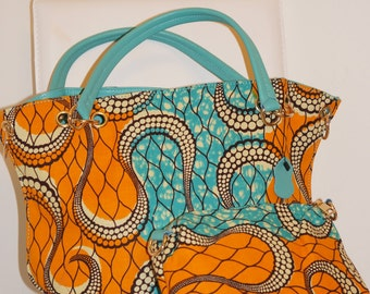 FREE SHIPPING* Printed Dutch Wax Handbag in Teal