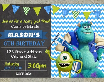Monsters University Birthday Invitation Chalkboard Chevron Pattern Monsters University Invitation