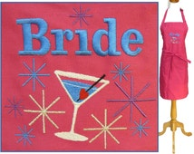 Bride & Martini Apron Embroidered Custom Monogram Bridal Shower Wedding Gift