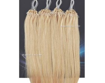 Beauties Factory Handmade Micro Loop Ring Remy Human Hair Extensions Color 60 Platinum Blonde 20inch