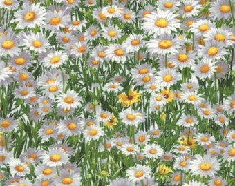 MODA - Wildflowers Favorites - Sentimental Studios - 32814 11 - Floral - Floral Daisies White - Green -  White - Daisies - One More Yard