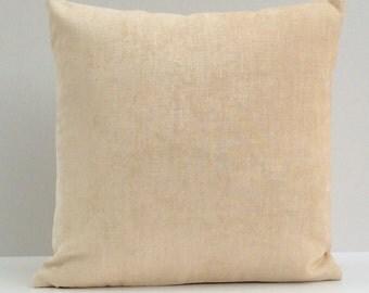 Cream, Dark Ivory Pillow, Throw Pillow Cover, Decorative Pillow Cover, Cushion Cover, Pillowcase, Accent Pillow, Toss Pillow, Velour Blend