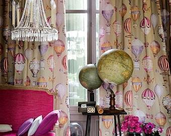 MANUEL CANOVAS Hot Air BALLOONS Toile Fabric 10 Yards Red Rose Lavender Tan Multi