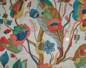 LEE JOFA KRAVET Nympheus Jacobean Linen Weave Fabric 10 Yards Blue Slate Amber Burgundy Multi