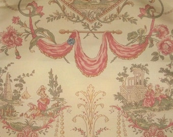 LEE JOFA KRAVET French Toile De Jouy Fabric 10 Yards Shabby Rose Beige Green Peach