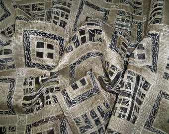 SILK LOOM MADHAVI Embroidered Sheer Fabric 10 Yards Taupey Beige Black
