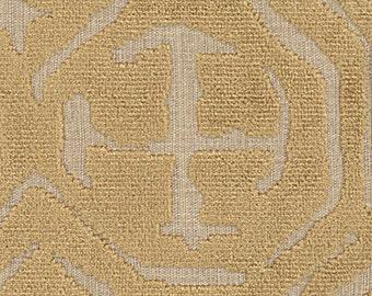 POLLACK ASIAN CHINOISERIE Medallions Cut Velvet Fabric 10 Yards Caramel on Natural