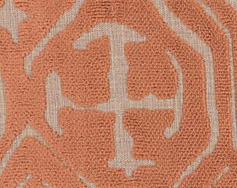 POLLACK ASIAN CHINOISERIE Medallions Cut Velvet Fabric 10 Yards Cinnamon on Natural