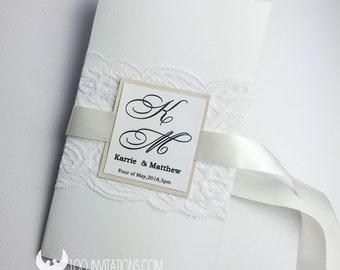 Lace Wedding Invitation,Elegant Lace Wedding Invitations,Customized Lace Wedding Invitation,Elegant Lace Wedding Invitations with Ribbon Bow