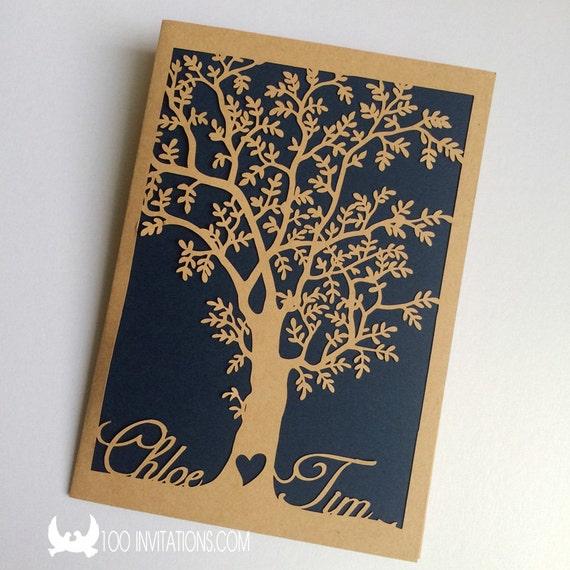 Laser Cut Tree Wedding Invitations: 100 Laser Cut Tree Wedding InvitationsLaser Cut Wedding