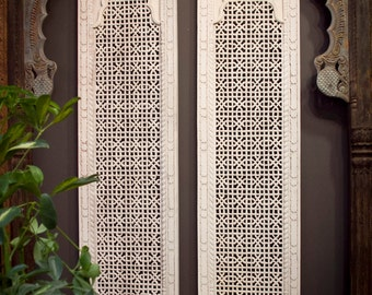 Moroccan Carved Panel , Whitewash Carved Panel, Indian Teak Carving, Tall Lattice Carved Panel , Moorish Carved door, Carved headboard panel