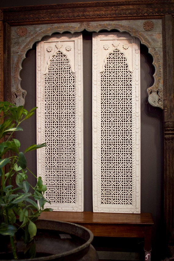 Moroccan Carved Panel Whitewash Carved Panel Indian Teak