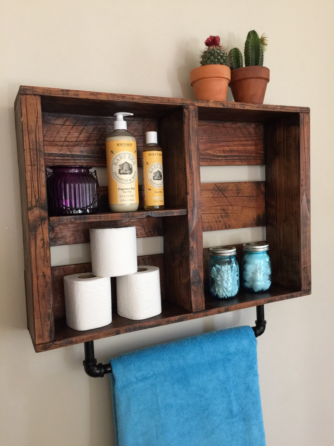 Rustic bathroom decor bathroom shelf w pipe by standardwoodco for Looking for bathroom accessories