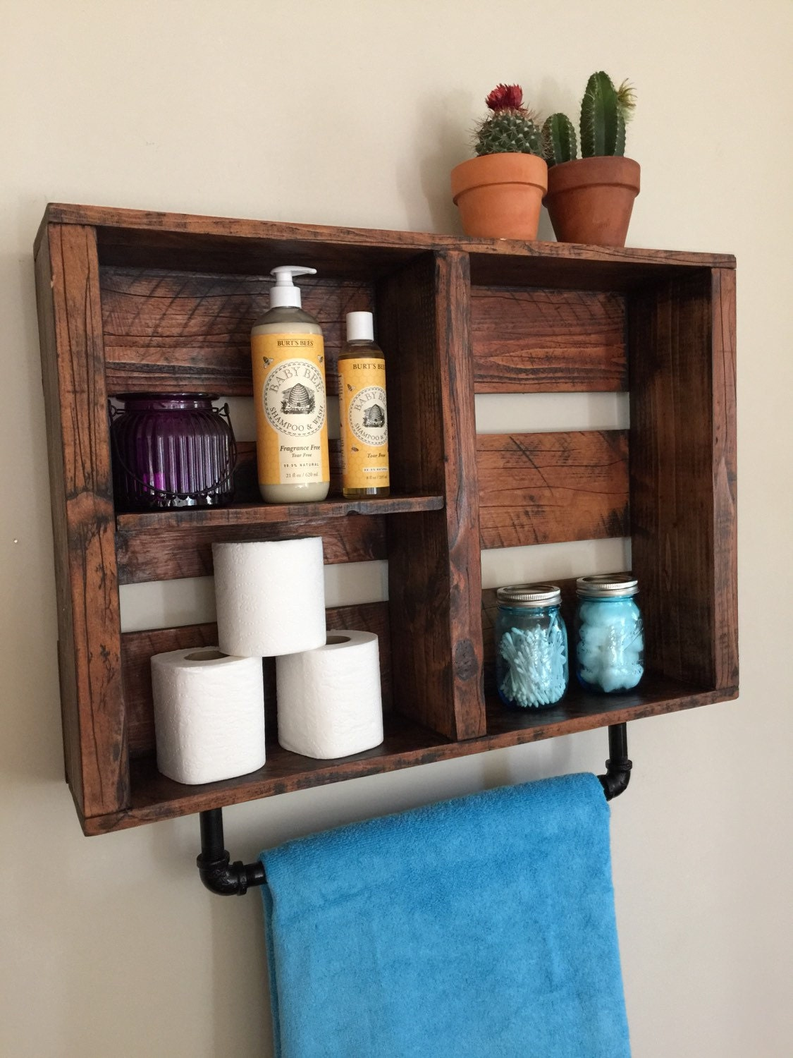 Rustic bathroom decor bathroom shelf w pipe by standardwoodco for Bathroom decor and storage