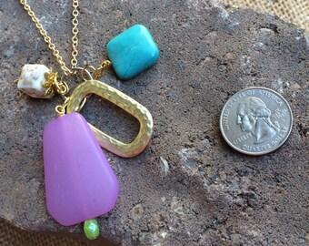 Purple & Turquoise charm necklace