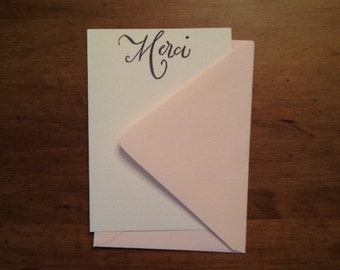 "Set of 10 Hand Stamped ""Merci"" Thank You Cards"