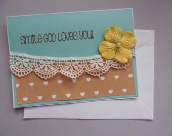 Religious Card- Sympathy Religious -Friendship Card- Handmade Card- Blank Handmade card- Embellished Card- Lace Friendship Card-Religious