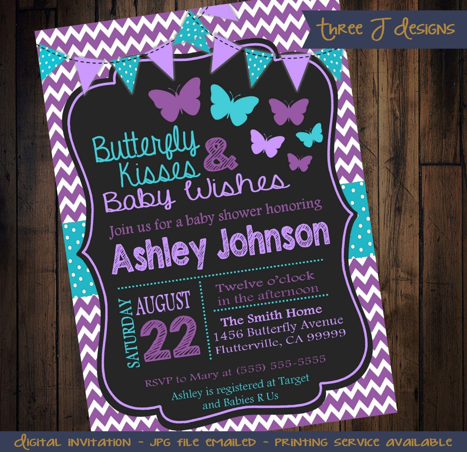 Butterfly Baby Shower Invites: Purple & Teal Butterfly Baby Shower Invitation By