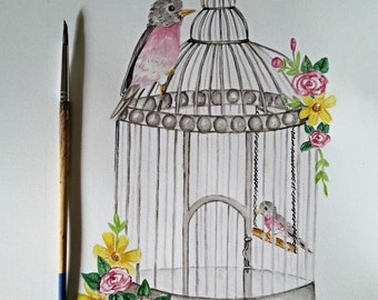 Nursery Art, Birdcage with Birds,Mom and baby bird, vintage birdcage,baby girl,baby boy,flowers, vintage inspired,whimsical nursery art