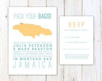 Jamaica Wedding Invitation, Destination Wedding Invitation, Jamaican Map Wedding Invitation