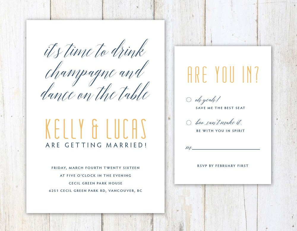 Funny Wedding Invitation Wording: Funny Wedding Invitation Unique Wedding Invitation Witty