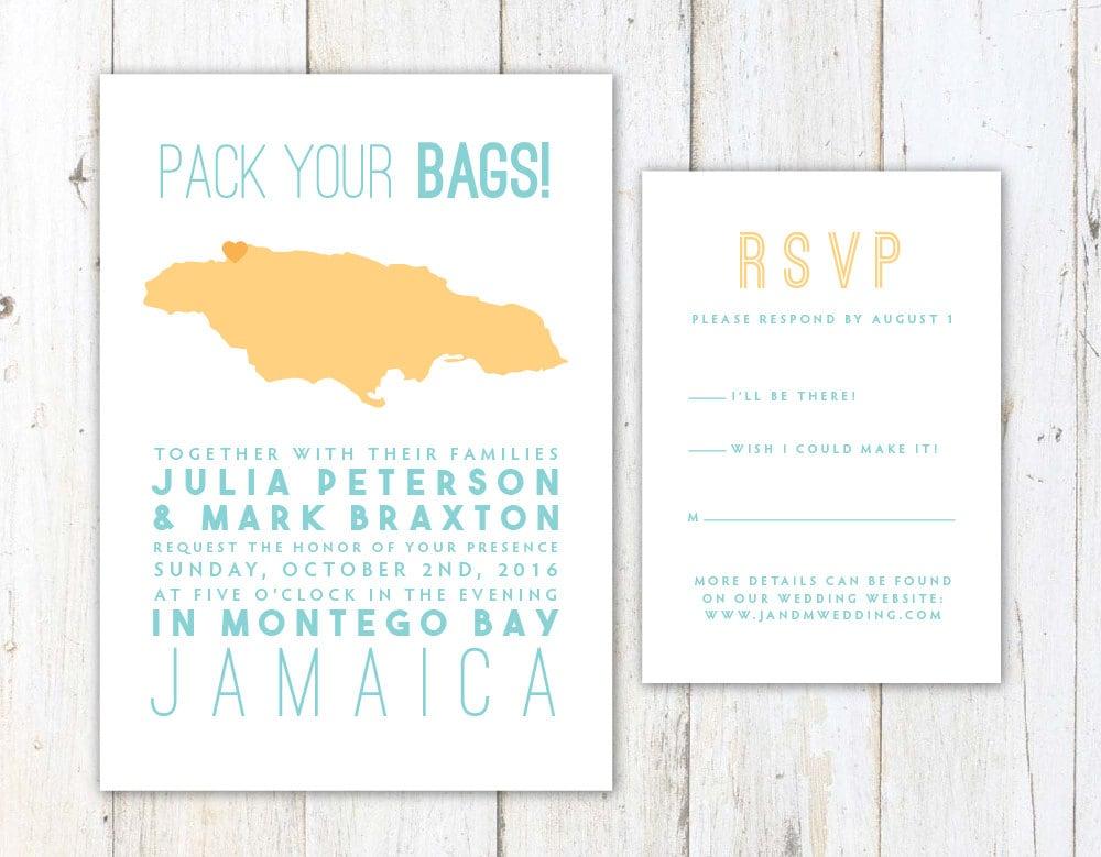 Jamaica Wedding Invitations: Jamaica Wedding Invitation Destination Wedding Invitation