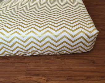 Ready to ship, Crib Sheet, Fitted Sheet, Baby Bedding, Nursery, Baby, Toddler Bedding, White, Gold, Chevron, Fitted Crib Sheet