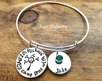 My Wishes Came True With You Dandelion Bangle Bracelet, Kids's Name Bracelet, Personalized Family Bracelet, Dandelion Bangle, Gift for Mom