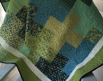 quilt, masculine, plus sign, blues, and greens