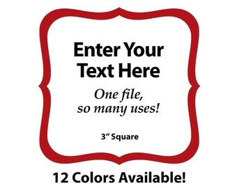 """EDITABLE Printable 3"""" RED SCROLL Square - Address Labels, Business Cards, Price Tags, Gift Tags & more - Change the text again and again"""
