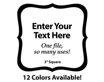"""EDITABLE Printable 3"""" BLACK SCROLL Square - Address Labels, Business Cards, Price Tags, Gift Tags & more - Change the text again and again"""