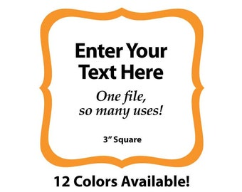 """EDITABLE Printable 3"""" ORANGE SCROLL Square - Address Labels, Business Cards, Price Tags, Gift Tags & more - Change text again and again"""