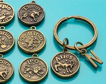 Zodiac Keychain, Bronze Zodiac Key Ring, Astrology Sign Charm, Birth Sign, Initial Keychain, Custom Keychain, Charm Keychain, 549