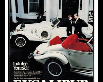 """Vintage Print Ad June  1983 : Excalibur Automobile Corporation Cars Automobile Wall Art Decor 8.5"""" x 11"""" Advertisement 2 Pages"""