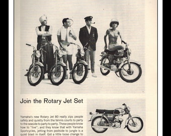 """Vintage Print Ad March 1965 : Yamaha """"Join The Rotary Jet Set"""" Motorcycle Wall Sexy Girl Art Decor 8.5"""" x 11"""" Print Advertisement"""