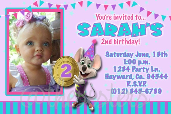 girl chuck e cheese invitation, Birthday invitations