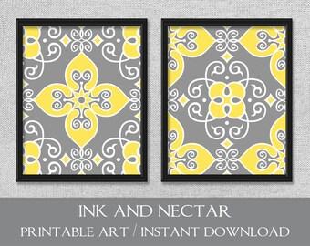 Printable Wall Art, Yellow and Gray Art, Printable Art Prints, Digital Download Art, Set of 2 Prints, Yellow and Gray Decor, Digital Art