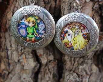 Link and Zelda Locket Set