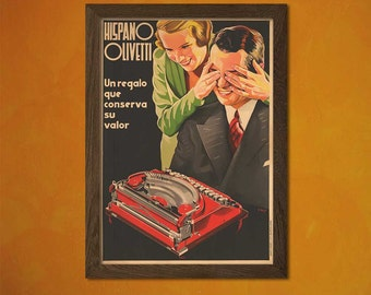 Hispano Olivetti Advertising Print - Retro Wall Decor Home Decor Olivetti Poster Retro Typewriter   Reproductiont