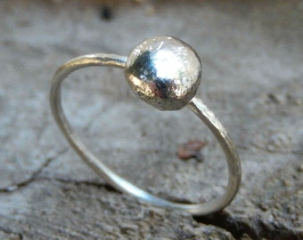 Sterling Silver Stacking Ring // Thin Silver Ring // Stack Ring // Dainty Silver RIng // Silver Dot Ring //
