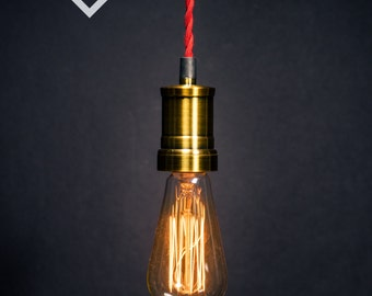 Brass style socket Edison bare bulb pendant light industrial style
