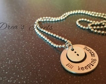 Semicolon necklace  I'm keeping strong, suicide prevention depression awareness, inspirational jewellery jewelry, handmade hand stamped