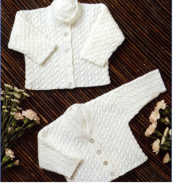 knit baby cable knit v-neck cardigan and round neck cardigan